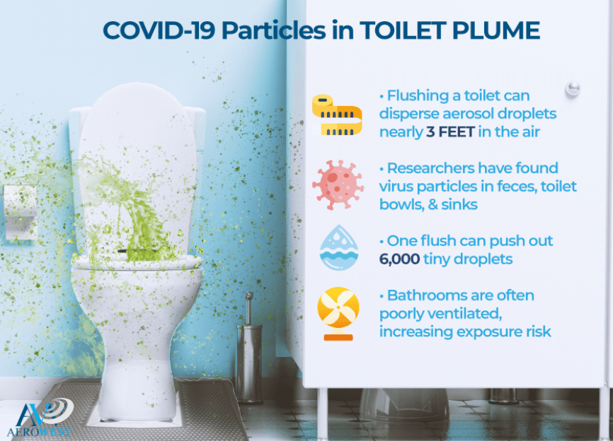 COVID-19 Particles in Toilet Plume infographic